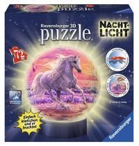 Ravensburger Puzzle - 3D Puzzles - Pferde am Strand, Nachtlicht, 72 Teile
