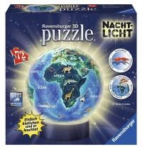 Ravensburger Puzzle - 3D Puzzles - Erde im Nachtdesign, Nachtlicht, 72 Teile