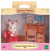 Sylvanian Families - Schokoladenhasen-Schwester-Set mit Schreibtisch