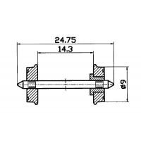 Roco - H0 - Radsatz RP 25 DC, einseitig isoliert. Durchschnitt 9mm