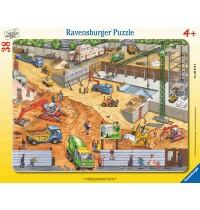 Ravensburger Puzzle - Rahmenpuzzle - Auf der Baustelle, 38 Teile