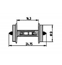 Roco - H0 - Radsatz Durchschnitt 9 mm für Gleisbesetztmeldung