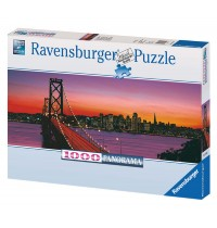 Ravensburger Puzzle - Panorama - San Francisco, Oakland Bay Bridge bei Nacht, 1000 Teile