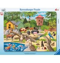 Ravensburger Puzzle - Rahmenpuzzle - Im Streichelzoo, 47 Teile