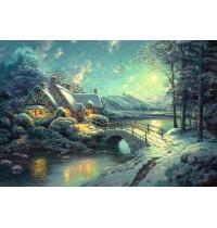 Schmidt Spiele - Puzzle - Thomas Kinkade - Winterliches Mondlicht, 500 Teile