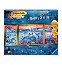 Ravensburger Spiel - Malen nach Zahlen Premium Triptychon - Farbenfrohe Unterwasserwelt