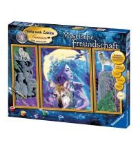 Ravensburger Spiel - Malen nach Zahlen Premium Triptychon - Mystische Freundschaft