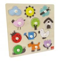 Jumbo Spiele - Goula Holzpuzzle - Silhouetten Garten, 12 Teile