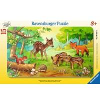Ravensburger Puzzle - Rahmenpuzzle - Tierkinder des Waldes, 15 Teile