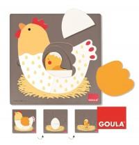 Jumbo Spiele - Goula Holzpuzzle - 3 Stufen Huhn, 7 Teile