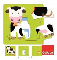 Jumbo Spiele - Goula Holzpuzzle - 3 Stufen Kuh, 7 Teile