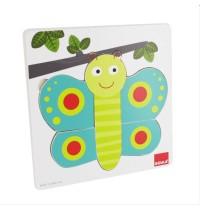 Jumbo Spiele - Goula Holzpuzzle - 3 Stufen Schmetterling, 8 Teile