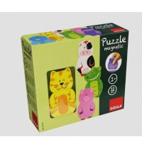 Jumbo Spiele - Goula Magnetische Holzpuzzle - Tiere, 12 Teile