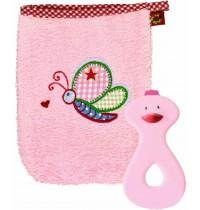 Die Spiegelburg - Geschenkset Waschhandschuh und Beißring rosa BabyGlück