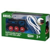 BRIO Bahn - Schwarze Akku-Lok mit Mini-USB