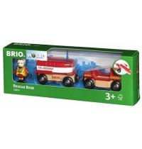 BRIO Bahn - Feuerwehr-Boot mit Transporter