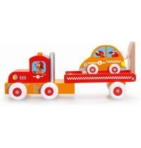 Scratch - LKW mit Rennauto aus Holz