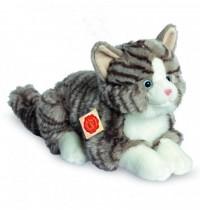 Teddy Hermann - Katze liegend grau, 30 cm
