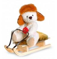 Teddy-Hermann - Sammlerbären - Philipp mit Schlitten - sitzend, 14 cm