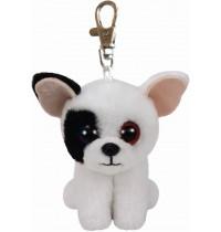 Ty Plüsch - Beanie Babies Clip - Marcel, Hund weiss/schwarz 8.5cm