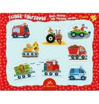 Die Spiegelburg - Rahmenpuzzle mit Fingerlochstanzung Flinke Fahrzeuge, 8 Teile
