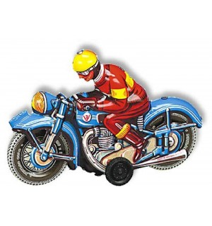 Wilesco Blechspielzeug - Motorrad, blau