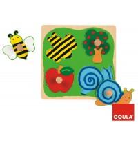 Jumbo Spiele - 4 Teile Holzpuzzle Biene, Apfelbaum und Schnecke