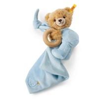 Steiff - Babywelt - Spielzeug - Schmusetücher - Schlaf-gut-Bär 3 in 1 mit Rassel, blau, 16cm