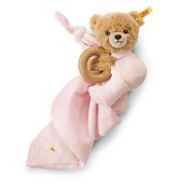 Steiff - Babywelt - Spielzeug - Schmusetücher - Schlaf-gut-Bär 3 in 1 mit Rassel, rosa, 16cm