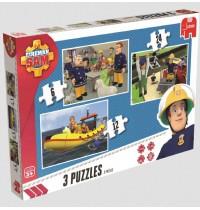 Jumbo Spiele - Feuerwehrmann Sam - Trio Puzzle, 6/12/24 Teile