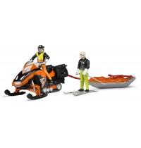 BRUDER bworld - Snowmobil mit Fahrer und Akia Rettungsschlitten mit Skifahrer