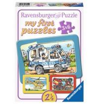 Ravensburger Puzzle - Rahmenpuzzle - Feuerwehr, Polizei, Krankenwagen, 6 Teile