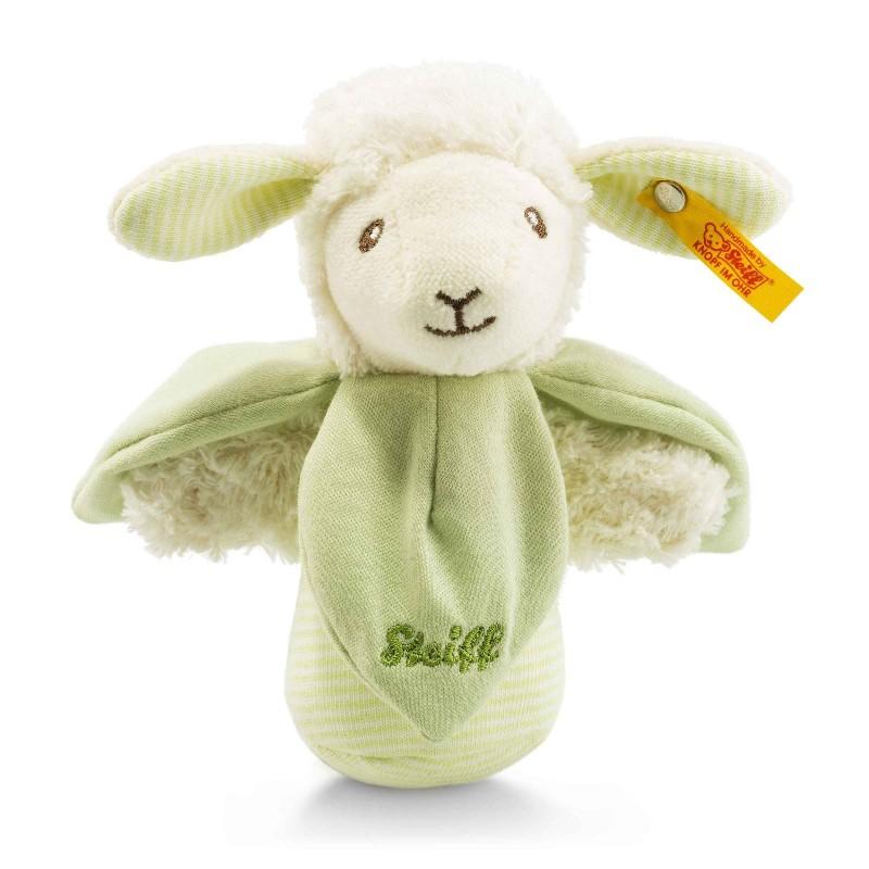 Steiff - Babywelt - Spielzeug - Lenny Lamm Knister-Greifling mit Rassel, grün, 14cm