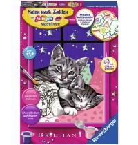 Ravensburger Spiel - Malen nach Zahlen mit farbigen Motivlinien - Schlafende Katzen