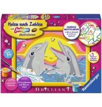 Ravensburger Spiel - Malen nach Zahlen mit farbigen Motivlinien - Delfinglück