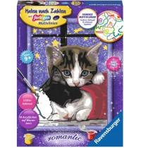 Ravensburger Spiel - Malen nach Zahlen mit farbigen Motivlinien - Kuschelnde Kätzchen