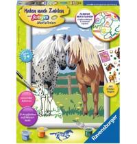 Ravensburger Spiel - Malen nach Zahlen mit farbigen Motivlinien - Glückliche Pferde