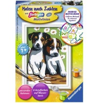 Ravensburger Spiel - Malen nach Zahlen mit farbigen Motivlinien - Süße Welpen