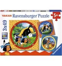Ravensburger Puzzle - Yakari, der tapfere Indianer, 3x49 Teile
