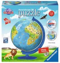 Ravensburger Puzzle - 3D Puzzles - Kinderglobus in deutscher Sprache, 180 Teile