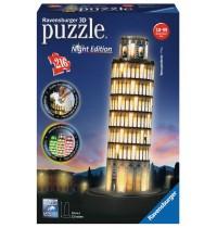 Ravensburger Puzzle - 3D Puzzles - Schiefer Turm von Pisa bei Nacht, 216 Teile