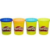 Hasbro - Play-Doh 4er Pack dunkelblau, orange, neonblau, neongrün