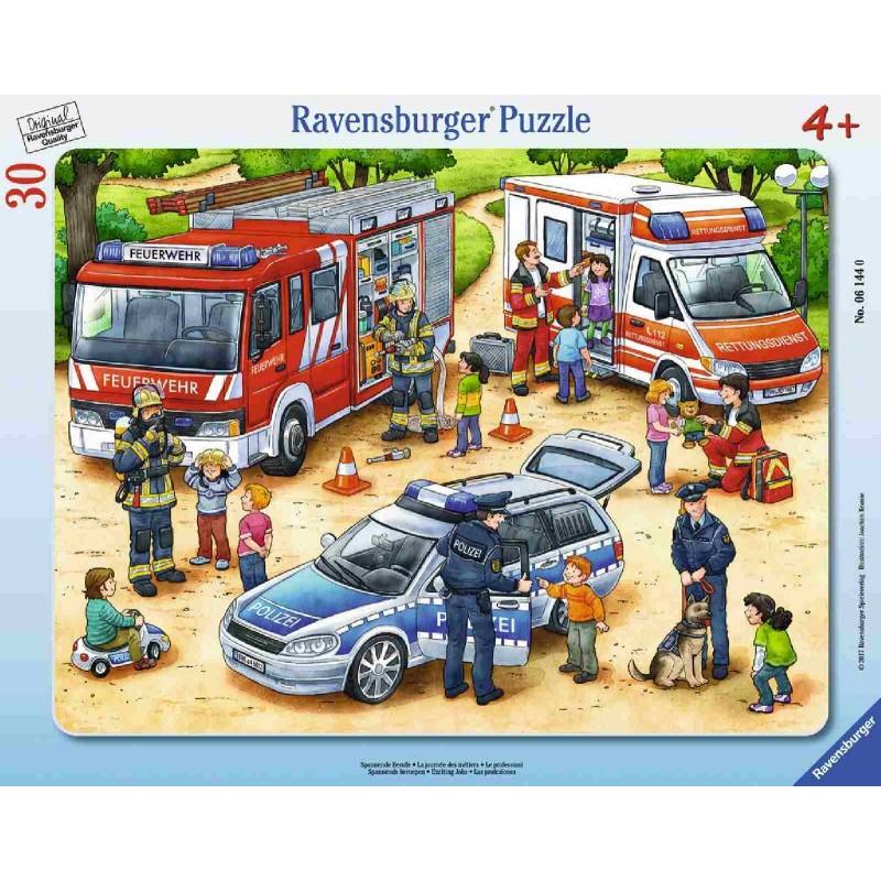 Ravensburger Puzzle - Rahmenpuzzle - Feuerwehr & Krankenwagen, 30 ...