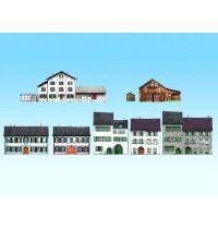 Noch - Alpenländer, 8 typische Halbreliefgebäude H0,TT,N,Z