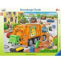 Ravensburger Puzzle - Rahmenpuzzle - Müllabfuhr, 35 Teile