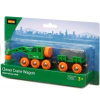 BRIO Bahn - Grüner Kranwagen mit Anhänger und Fracht
