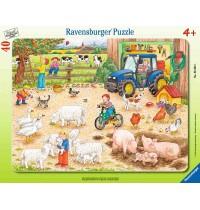 Ravensburger Puzzle - Rahmenpuzzle - Auf dem großen Bauernhof, 40 Teile