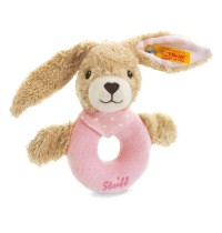 Steiff - Babywelt - Spielzeug - Greifringe & Rasseln - Hoppel Hase Greifring mit Rassel, rosa, 12cm