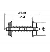 Roco - H0 - Normradsatz DC, Mit geteilter Achse,Durchschnitt 9 mm