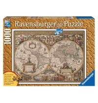 Ravensburger Puzzle - Holzstrukturpuzzle - Antike Weltkarte, 1000 Teile